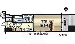 デュオン新大阪レジデンス 15階1Kの間取り