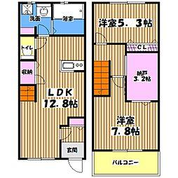 [テラスハウス] 東京都昭島市宮沢町2丁目 の賃貸【/】の間取り