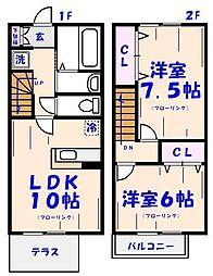 [テラスハウス] 千葉県市川市北方3丁目 の賃貸【千葉県 / 市川市】の間取り