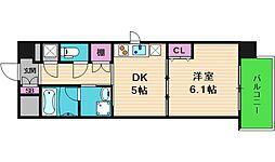 大阪府大阪市中央区上汐2丁目の賃貸マンションの間取り