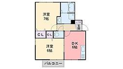 セジュール龍松 A棟[202号室]の間取り