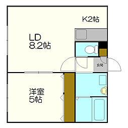 北海道札幌市白石区北郷一条3丁目の賃貸アパートの間取り