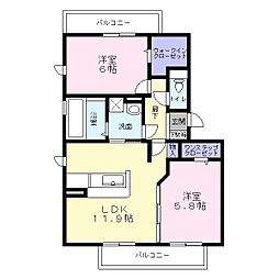 Osaka Metro御堂筋線 新金岡駅 徒歩25分の賃貸アパート 3階2LDKの間取り