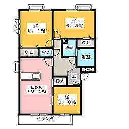 愛知県東海市富木島町新藤塚の賃貸アパートの間取り