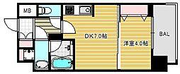 大阪府大阪市西区京町堀1丁目の賃貸マンションの間取り