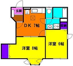 静岡県磐田市国府台の賃貸アパートの間取り