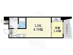 Osaka Metro御堂筋線 江坂駅 徒歩4分の賃貸マンション 12階1LDKの間取り