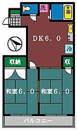 喜久ハウス[202号室]の間取り