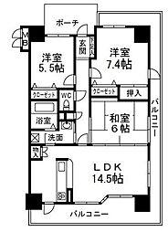 兵庫県西宮市上甲子園2丁目の賃貸マンションの間取り
