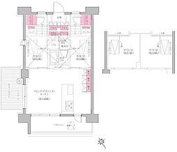 東京メトロ東西線 門前仲町駅 徒歩8分の賃貸マンション 11階2LDKの間取り