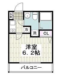 ヒルフロント鷹取 3階1Kの間取り