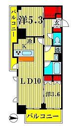 アジールコート両国北斎通 6階2LDKの間取り