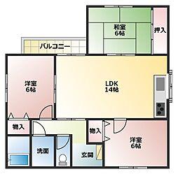 兵庫県明石市二見町福里の賃貸アパートの間取り