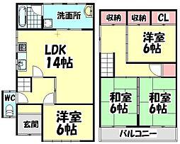 [一戸建] 大阪府堺市西区浜寺諏訪森町西3丁 の賃貸【/】の間取り