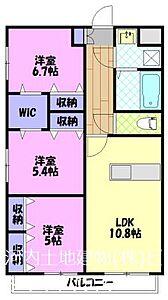 間取り,3LDK,面積65.65m2,賃料9.1万円,,,栃木県宇都宮市桜1丁目2556-1
