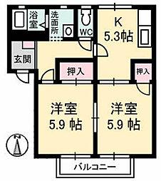 鴻南ハイツ[A202号室]の間取り