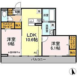 小田急小田原線 本厚木駅 バス14分 下依知入口下車 徒歩9分の賃貸アパート 2階2LDKの間取り