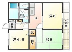 第二メゾン扇[1階]の間取り