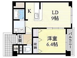 京阪本線 香里園駅 徒歩7分の賃貸マンション 1階1LDKの間取り