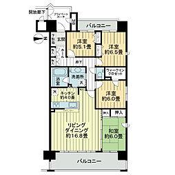 ポレスターアーバンシティ広島[4階]の間取り
