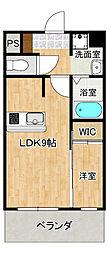 西鉄天神大牟田線 蒲池駅 4.1kmの賃貸マンション 1階1LDKの間取り
