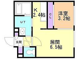 札幌市営東豊線 豊平公園駅 徒歩6分の賃貸マンション 4階1LDKの間取り
