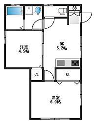 東京都板橋区向原3丁目の賃貸アパートの間取り