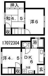 [テラスハウス] 大阪府大阪市住吉区遠里小野6丁目 の賃貸【/】の間取り