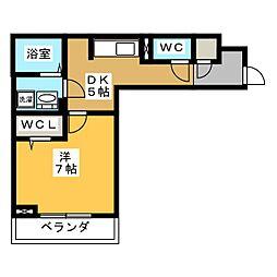 D-roomビーチルック 1階1Kの間取り
