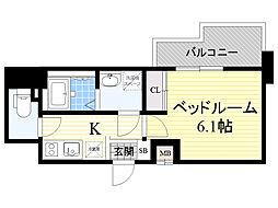 Dimus新大阪 6階1Kの間取り
