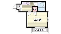 山陽電鉄本線 霞ヶ丘駅 徒歩30分の賃貸マンション 3階1Kの間取り