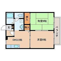 奈良県生駒郡安堵町東安堵の賃貸アパートの間取り