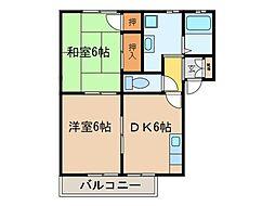 大阪府高槻市南平台1丁目の賃貸アパートの間取り