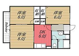 千葉県市原市君塚5丁目の賃貸アパートの間取り