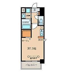 名鉄名古屋本線 山王駅 徒歩10分の賃貸マンション 4階ワンルームの間取り