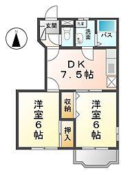愛知県清須市西田中長堀の賃貸アパートの間取り