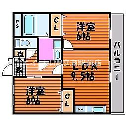 岡山県岡山市北区船頭町丁目なしの賃貸マンションの間取り