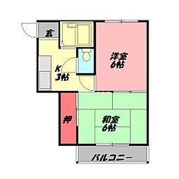 八雲東グリーンハイツ 4階2Kの間取り