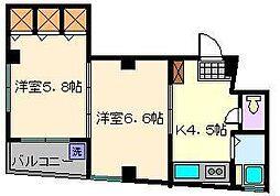 KUコーポ高砂[3階]の間取り