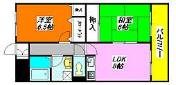 イーストヒル・長田202号室[2階]の間取り