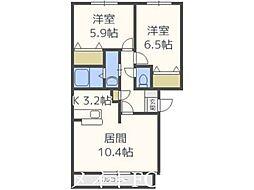 北海道札幌市東区北二十三条東23丁目の賃貸マンションの間取り