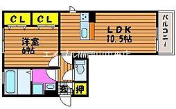 岡山県岡山市中区竹田の賃貸アパートの間取り