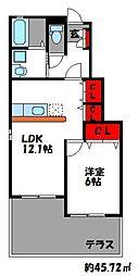 ブリアンメゾン D[1階]の間取り