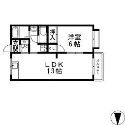 アイケイハイツ高井田[A203号室号室]の間取り