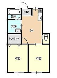 サンライフKUMAGAYA[102号室]の間取り
