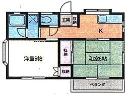 ハイツ中央[2階]の間取り
