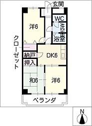 フレスコ・ラヴィエ 5階3DKの間取り