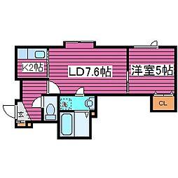 北海道札幌市北区太平七条2丁目の賃貸アパートの間取り