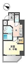 仮称)新宿区山吹町マンション新築工事 2階1Kの間取り