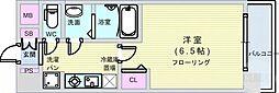 Osaka Metro堺筋線 恵美須町駅 徒歩6分の賃貸マンション 7階1Kの間取り